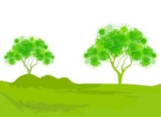 绿色的树自然背景矢量插画