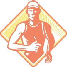 男性的马拉松运动员跑的复古木刻