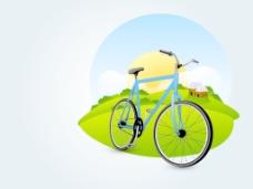 载体对抽象的自然背景自行车插图