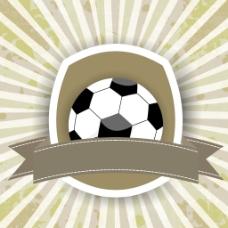 足球或橄榄球徽章与肮脏的射线背景的丝带