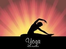 随着橙色光线背景在瑜伽的姿势一个年轻人剪影医学概念