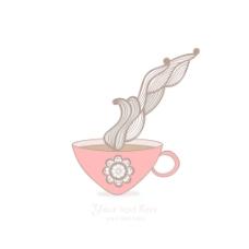 咖啡杯和花卉图案的背景热饮料在美丽的杯子 茶杯
