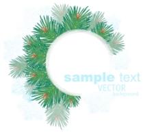 季节冬天圣诞节矢量框架的松树枝