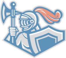 战斧和盾牌和长矛的骑士