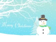 雪花与雪人圣诞背景