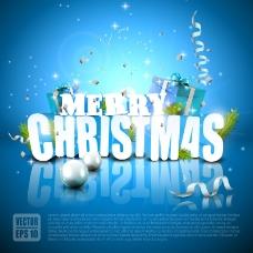 精美蓝色圣诞海报矢量素材
