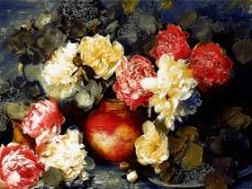 花卉花束油画图