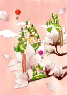 玉兰花和房子