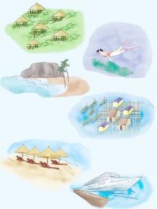 三亚旅游景点手绘图图片