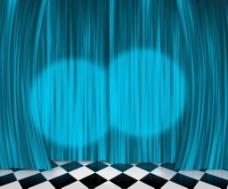 蓝色的窗帘灯舞台背景
