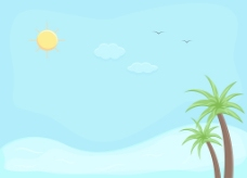 海滩-卡通背景矢量