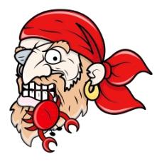 海盗吃螃蟹卡通插画矢量