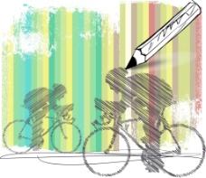 摘要彩色背景矢量插画自行车