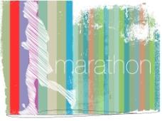 马拉松选手在背景矢量插画