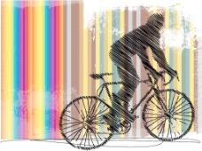 用彩色背景矢量插画骑车图