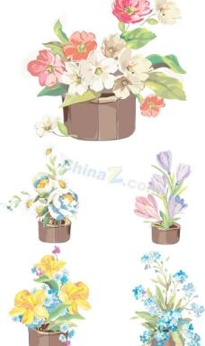 精美盆栽花卉矢量素材