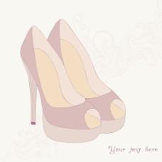 高跟鞋高跟鞋复古花织物的背景与你纸上的文字背景的地方