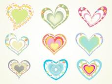 一套五颜六色的心与背景