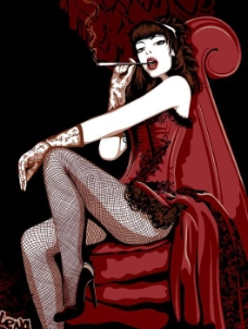 抽烟的时尚女人矢量图
