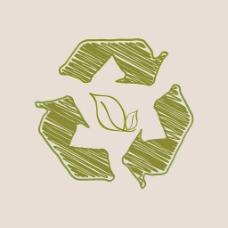摘要背景与自然循环箭头和绿色叶
