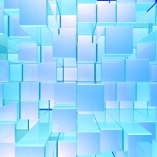 明亮的蓝色发光不透明的金属背景与艺术的立方体和广场