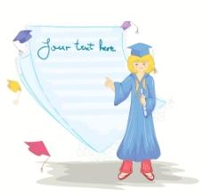 矢量毕业的空白页的女孩