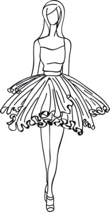 手绘穿裙子的女生
