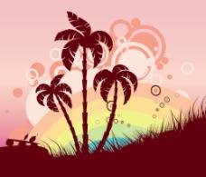 老式的夏季背景矢量插画
