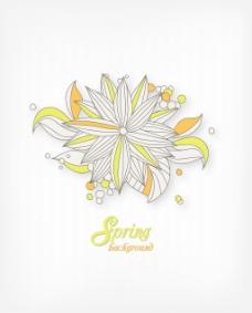 春天开花的花卉背景矢量插画