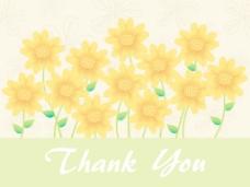 向日葵的背景与文本表示感谢