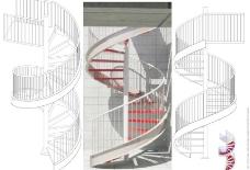 螺旋钢楼梯剖面的2D-3D和渲染