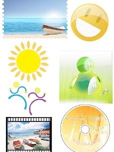 PS 素材 太阳花 邮票风景 油轮 笑脸 MSN标志图片