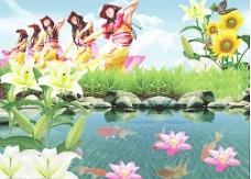 池塘美景图片