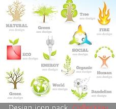 绿色环保生态图标矢量图片