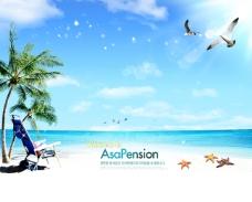 清凉大海沙滩海鸥图片