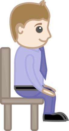 小人坐在椅子上简笔画内容图片展示