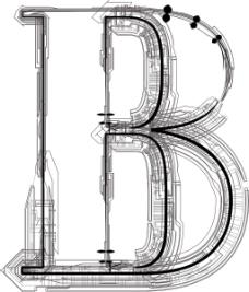 技术字体字母B