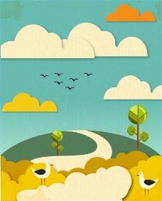 卡通剪纸风景插画