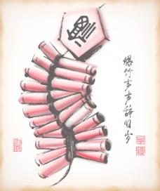 中国新年爆竹平移矢量水墨画:春天的归来