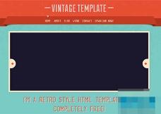 蓝色复古风格图册画廊HTML5模板