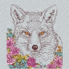 印花矢量图 卡通 动物 狼头 植物 免费素材