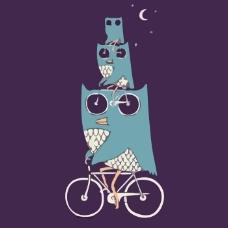 印花矢量图 动物 啄木鸟 生活元素 自行车 免费素材