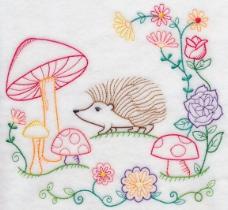 位图 绣花 动物 刺猬 植物 免费素材