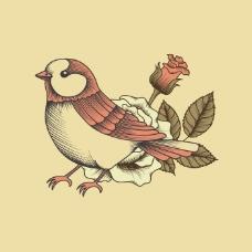 印花矢量图 动物 鸟 植物 花朵 免费素材
