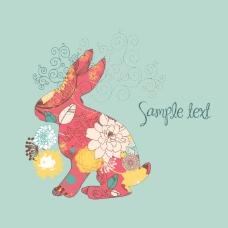 印花矢量图 动物 兔子 花纹 植物花纹 免费素材