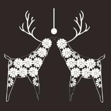 印花矢量图 动物 麋鹿 长颈鹿 填充图案 免费素材