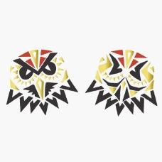 印花矢量图 动物 猫头鹰 几何 三角形 免费素材