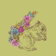 印花矢量图 卡通 动物 松鼠 植物 免费素材