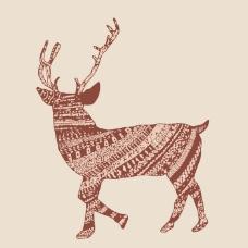 印花矢量图 填充面料 动物 麋鹿 女装 免费素材