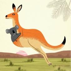 位图 插画 动物 袋鼠 考拉 免费素材